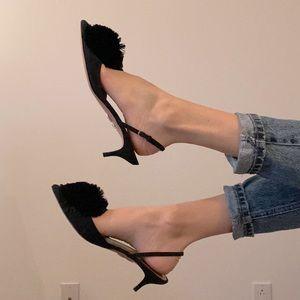 Designer Sling Back Kitten Heels with Pom Pom